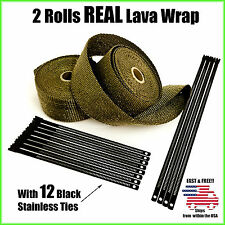"Titanium Lava Exhaust Header Pipe Heat Wrap 2 Rolls 2""x50' Black Stainless Ties"