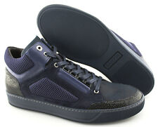 Men's LANVIN 'Textured' Purple Leather/Suede Sneakers Size US 10 UK 9