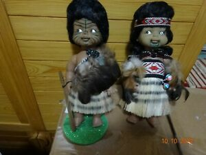 Maori dolls , pair,  authentic looking ,  from New Zealand  no mark or date ,