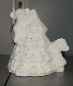 Small Christmas Tree with Mice Climbing  LIGHT Up*Ceramic Bisque Ready to Paint