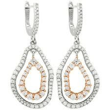 Two-tone Finish Sterling Silver Pave Cubic Zirconia Double Open Oval Earrings
