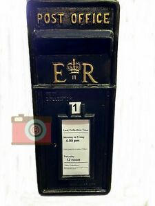 POSTBOX LETTER BOX. CAST IRON. BLACK. Gold Letters, Lockable, Two Keys. ER
