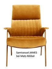 Sessel JAMES Samt, Samtsessel Senffarbend mit goldenen Beinen bei Matz-Möbel