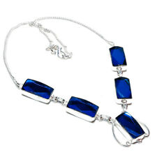 """Charming Blue Sapphire Handmade Ethnic Style Jewelry Necklace 18"""""""