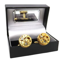 Gold Steampunk Watch Movement Mens Gift Cufflinks in Personalised Gift Box