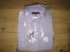 MANS SHIRT SIZE 15 NEW TINY LILAC & WHITE STRIPES REGULAR FIT LONG SLEEVES