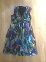 TED BAKER MULTICOLOURED SHORT V NECK SLEEVELESS DRESS UK SIZE 3(10) BARELY WORN