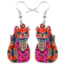 Acrylic Lucky Cat Kitten Earrings Dangle Drop Animal Jewelry For Women Accessory
