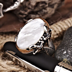 Natural Mother Of Pearl Gemstone Silver Statement Mens Ring Arabic Sword Jewelry