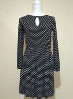 South Women's Dress Long Sleeve Navy & White Pokadot Knee Length UK Size 10