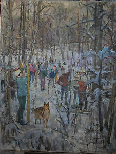 Antique 1973 Original Russian painting USSR oil on canvas Gusev Yur skiers