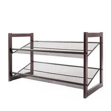 2-Tier Stackable Metal Shoe Rack Adjustable Organizer Shelf Closet Entryway