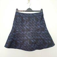 REISS (UK Size 12) Blue & Black Textured Flared A-Line Mini Skirt (Taffy)