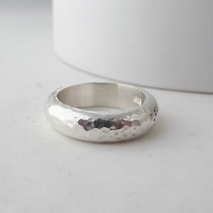 Gorgeous Detailed Handmade Chunky Hammer Finish Solid Sterling Silver Ring