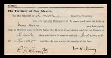 Billy The Kid & Pat Garrett Autograph Reproductions On Genuine 1880s Paper st147
