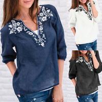 Summer Women Plus Size Paisley Floral Print Top V-neck Casual Loose Shirt Blouse