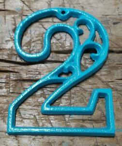 Rustic TURQUOISE Cast Iron Metal House Number Street Address 4 1/2 INCH Phone #2