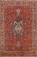 Vegetable Dye Geometric Heriz Serapi Oriental Area Rug Hand-knotted Wool 8x10 ft