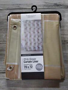 "Bath Bliss 70"" x 72"" Beige Tile Design PEVA Shower Curtain, 12 Rust Proof Metal"