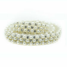 1 Yard Bridal Sash Belt  DIY Crafts New Rhinestone Fake Pearl Floral Applique