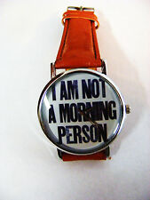 "GENEVA PLATINUM CARAMEL BROWN STRAP BAND WATCH ""I AM NOT A MORNING PERSON"" DIAL"