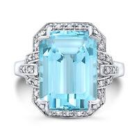 Aquamarine Diamond Ring 14K White Gold Emerald Cut Cocktail 14x10 MM Natural