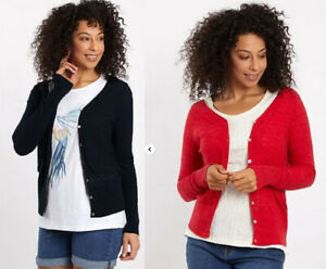 WEIRD FISH V Neck Button knitted Red or Black Cardigan Top 8 10 12 14 16 18 20