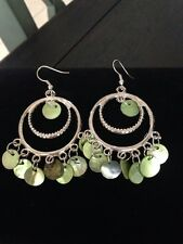 "PRETTY SEA GREEN MOTHER OF PEARL OPEN CIRCLE SIILVER TONED 3"" DROP HOOK EARRINGS"