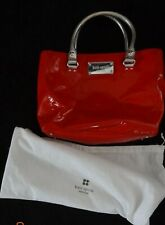 KATE SPADE red patent tote with silver handles, polka dot lined