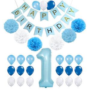 39pc Set Happy Birthday 1st Birthday Party Decoration Foil Balloon pom pom Boy