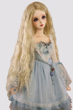 BJD DZ DOD Wig 1/3 1/4 1/6 Doll Wire Long Wavy Blonde Hair Wig Doll Party Gift @