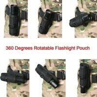 Tactical LED Flashlight Pouch Holster Torch Lamp 360 Degrees Rotatable Holder SA