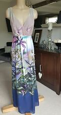 BNWOT LAURA ASHLEY SIZE 14 PRETTY LONG FLORAL PRINT PINK/PURPLE/BLUE MAXI DRESS