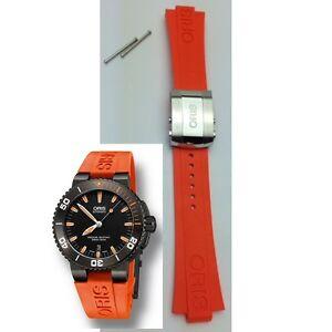 Genuine ORIS 733 7653 Aquis Date Ø 43mm ORANGE RUBBER band strap bracelet 42632