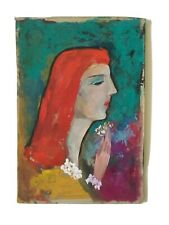 Redhead Lady Vintage Original Painting On Scrap Cardboard By Sam Shapiro 1980's