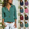 Women Holiday Loose Comfy Casual  Lapel Blouse Tops Plain Long Sleeve T-shirt