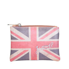 Y NOT? Wallet Pouch Dirty Look Leather Trim Textured Panel UK Flag Print Zipped