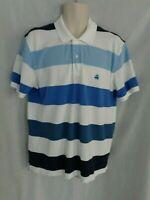 Brooks Brothers Blue stripe short sleeve blue fleece slim fit polo shirt men's L