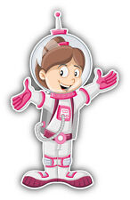 Cartoon Astronaut Girl Car Bumper Sticker Decal 3'' x 5''