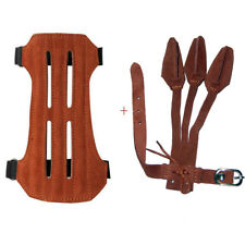IRQ Archery Leather 2 Strap Hunting Arm Guard & Three Finger Gloves Safety Gear