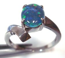 Xmas Lady Ring Jewelry Gift Box Special Natural Opal Ring Solid Sterling Silver