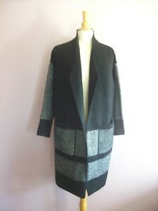 M&S Small 8  10  12 Black Mix Long Sleeve Collared Knee Length Cardigan Coat NEW