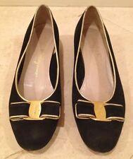 SALVATORE FERRAGAMO Black Suede Gold Leather Vara Bow Low Heel Pump 6B ITALY