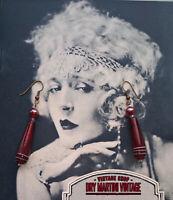 VINTAGE ART DECO STYLE VENETIAN MURANO GARNET RED DROP EARRINGS GIFT