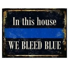 """In This House We Bleed Blue Police Novelty Metal Parking Sign 9"""" x 12"""""""
