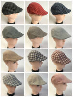 Men's Cabbie Newsboy Ascot Ivy Hat Cap Gatsby Plaid Solid NEW