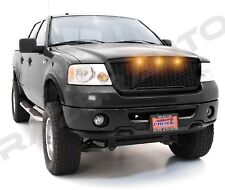 04-08 Ford F150 Raptor Style Matte Black Package Mesh Grille+Shell+Amber 3x LED