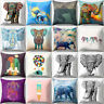 BG_ Elephant Print Soft Throw Cushion Cover Waist Pillowcase Home Car Decor Nove
