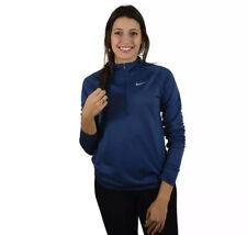 Women's Nike Dry Running Zip Long-Sleeve Activewear Top  Size Medium Blue