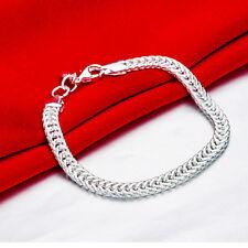 """8"""" Mens Womens 925 Sterling Silver 6mm Snake Link Chain Bracelet #B476"""